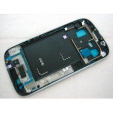 Средняя часть корпуса Samsung Galaxy S3 III GT-i9300 белая с серебристой рамкой